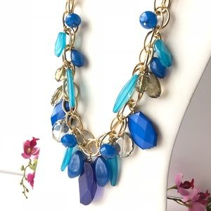 Curb Chain Blue Statement Necklace Crystal Beads